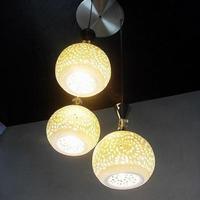 Restaurant E27 15w 5630 SMD LED pendant lighting with three LED bulb lights hollow ceramic lamps circle  porcelain AC 85-265 V
