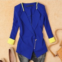 excellent quality,Wome Suit Blazer Foldable Brand Jacket Women Clothes Suit Zipper Shawl Cardigan Coat Blue,White