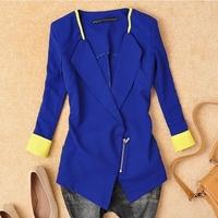 excellent quality,Wome Suit Blazer Foldable Brand Jacket Women Clothes Suit Zipper Shawl Cardigan Coat Blue,White