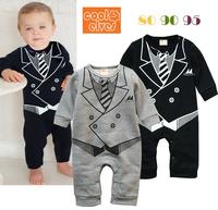 2013 baby boy gentleman romper,kids long sleeve print jumpsuit,3pcs/lot,