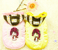 10pcs*Cute pet clothes dog clothes autumn winter Baby girl jacket yellow S-XXL