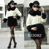 2013 Fashion Elegant Ostrich Wool Patchwork Long Fur Woman Outerwear Fur Collar