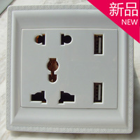 Free shipping new fashion USB socket panel 86 multi-socket wall switch socketS USB  mobile phone charging socket
