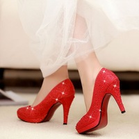 women wedding shoes woman NEW 2014 platform pumps fashion girls glitter sexy red bottom high heels rhinestone red CSXX42022