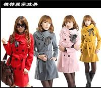 Women double collar medium-long Double-breasted wool coat  Women woolen overcoat female medium-long slim woolen outerwear