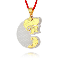 Yds293 xinjiang white jade pendant silver gold plated jade setting personalized fashion pendant tiger zodiac pendant