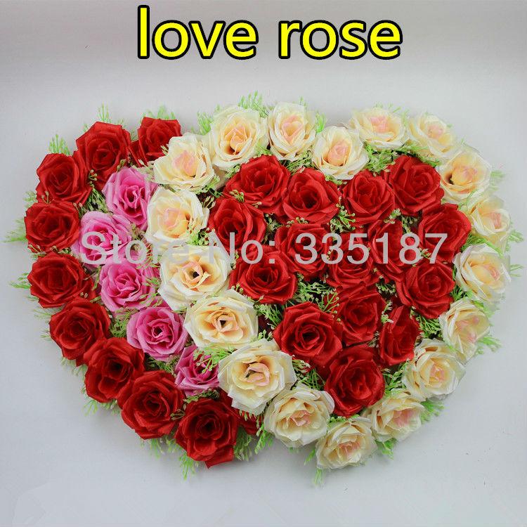 Heart-shaped Flower Rose Flower Disk Silk Love Wedding Decoration Artificial Flower Heart Lawn 41*41cm Size Carpet Decoration(China (Mainland))