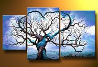 100% Hand made Blue ocean White cloud tree High Q. Abstract landscape Wall Decor Oil Painting on canvas 3pcs/set mixorde Framed