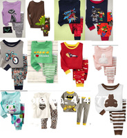 Retail 2013 Long Sleeve Pyjamas Baby Kids Sleepwear cotton kids pajamas full sleeves kids clothes pyjamas 12 styles