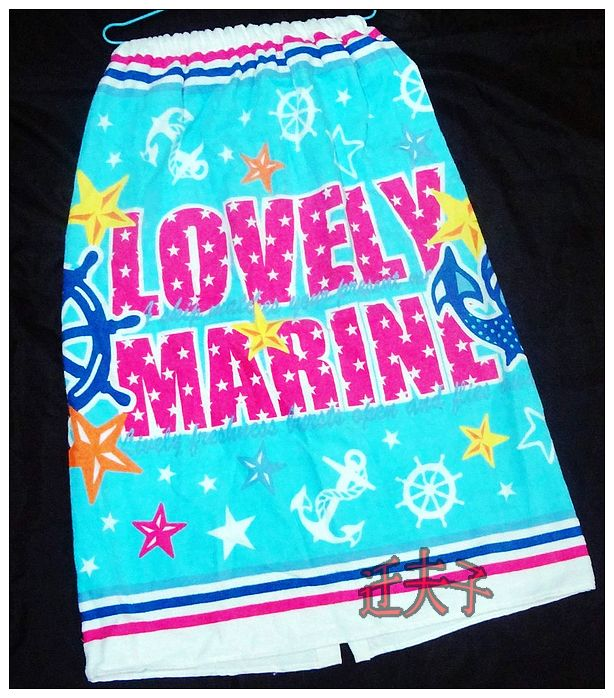Long 80cm lovely cartoon ocean marine 100% cotton adult bath skirt(China (Mainland))