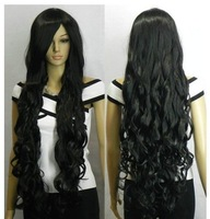 "promotion cheap human Kanekalon fibre Wigs Sexy 34"" sexy Kanekalon costum Wig Natural Long black Curly Costume Fibre hair wigs"