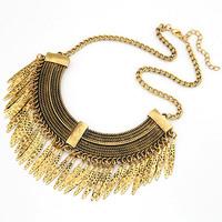 2014 New Brand  Retro Vintage Gold Punk Leaf Tassels Bib Choker Collares Collier Statement Necklaces & Pendants Women Female