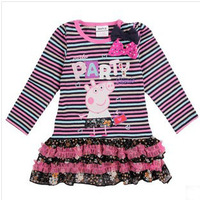 5pcs/lot Wholesale Autumn Flower Girl Dress Lovely Peppa Embroidered Girls' Dresses Long Sleeve Warm Kids Dress