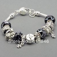 Free shipping Fashion European Style 925 Silver Charm Bracelets Bangle for Women Silver Animal Beads Bracelet DIY Jewelry Pa1014