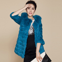 THOOO 2013 fox fur rabbit fur coat medium-long women's fur overcoat