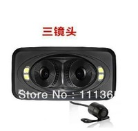360 DEGREE panoramic View Angle 3 LENS HD 720P Car DVR With G-sensor and motion Detection