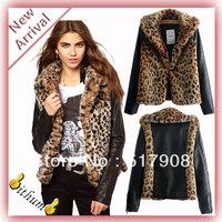 Europe 2013 women's Winter fashion jacket leopard pu leather patchwork in sleeve for women Jacket Coat fashion leopard fur coat