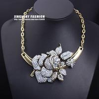 New fashion luxury antique gold alloy rhinestone big flower statement choker necklace women costume jewelry, Free shipping