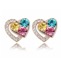Free Shipping 18K Gold Plated Sweet Gift High Quality Crystal Heart Earrings Wedding Luxury