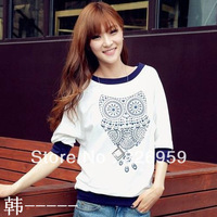 Owl print half sleeve t-shirt o-neck female loose autumn female long-sleeve t-shirt basic shirt