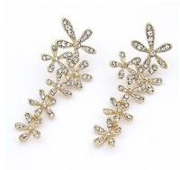 Ol fashion luxury full rhinestone sparkling elegant flower drop earring