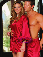 2014 autumn and winter quality women's long-sleeve sexy robe short red nightgown sleepwear elegant lounge