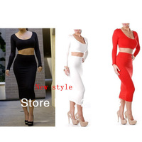 2013 Hot Selling Wholesale Exclusive Orange White Black Purple High Waisted Cropped Outfit Two Piece Bodycon Dress LYQ1378
