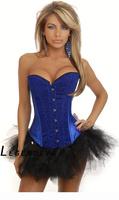 Sexy blue corset underwear fashion royal vest corset abdomen shaper drawing