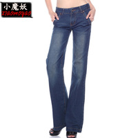 Free Shipping 2013 Plus Size Loose Was Thin Mid Waist Washed Cotton Womne Pencil Jeans 240