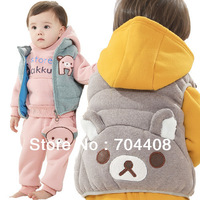 Free shipping Kids baby soft warm COTTON 3pcs clothing sets Cartoon boys and girls clothes sets 3set/lot