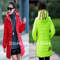 EMS free shipping 2013 women's slim medium-long down coat letter embroidered female fashion down jacket cotton-padded