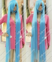 Free shipping 150cm 1 meters 5 Sky Blue long light blue straight hair lengthen thickening high temperature wire cosplay wig