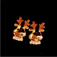 HOT Fashion crystal small deer stud earrings jewelry Christmas presents high quality jewelry wholesale women's free shipping