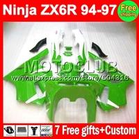 7gifts custom For KAWASAKI NINJA ZX6R 94 ZX-6R Green white ZX 6R 94 95 96 97 MC503 6 R 1994 1995 1996 1997 Green Fairing Kit