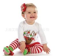 5pcs/lot Fashion baby girls and boys Christmas Fawn T-Shirt + Striped Socks Pant Children clothing Sets Christmas Gift for kids