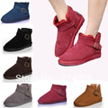 Free Shipping 2013 Winter Fashion Women's Snow Boots Short Buckle Flat Solid Furlining Boots 9859