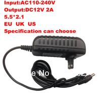 Free Shipping:4PCS/lot Camera Power Adapter Supply  AC 100-240V to DC 12V 2A Connector 5.5MM * 2.1MM EU US UK can choose