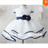 New baby girl pure white bow princess dress stereoscopic flower belt with the dress Rhinestone yarn dress Free Shipping