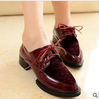 2014 fashion japanned leather pointed toe thick heel horsehair patchwork shoes lacing shoes