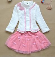 retail girls lace suit children coat+ t-shirt + skirt Three-piece skirt clothes set spring autumn wear sweet garment