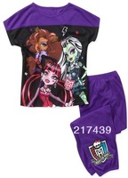 Free Shipping! Monster High girl girls summer short sleeve Purple shirt top and Purple pants pajamas pyjamas pyjamas sleepwear