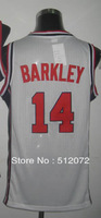 #14 Charles Barkley Men's Authentic 1992 Olympic Game Dream Team USA White Basketball Jersey