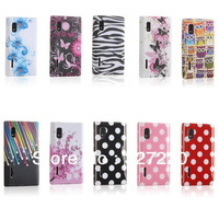 Free Shipping soft silicone cell phone case for LG Optimus L5 cover skin etui gel colorful black pink butterfly dots