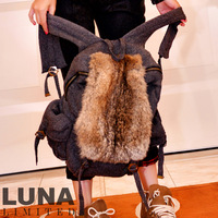 Luna autumn and winter rabbit fur women's handbag wool big school bag sb00201