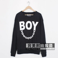 BRAND boy london hot-selling fashion iron chain letter PRINTED lovers design sweatshirt HOODY PULLOVER SWEATER outerwear BLACK