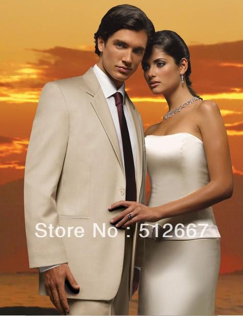 Свадебный мужской костюм Top new style paryt champagneGroom custom made any size