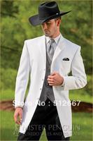 WHITE jacket pant/GRAY vest tie/Custom cheap italian MEN'S Suit/MAN FOR Suit/WESTERN STYLE WEDDING GROOM TUXEDOS GROOMSMEN DRESS