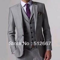Free shipping groom tuxedo gray Wedding suit /Custom made mens for new year 2014 Suits Luxury Romance men's suit groomsmen dress
