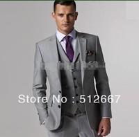 Best selling Two buttons Light gray Notch Lapel Wedding Groom Tuxedos Best Man Groomsmen dress Men Suits (Jacket+Pants+Vest+Tie)