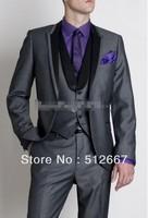 Custom Design Gray Peak Black Lapel Groom Tuxedos Groomsman Best Man Suits (Jacket+Pants+Vest+Tie)men for suit party prom dress
